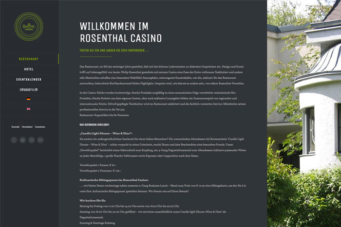 Rosenthal Casino Website Screenshot