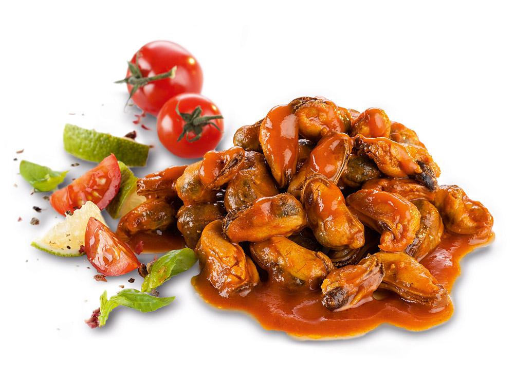 Muscheln in Tomaten-Sauce - dekoriert