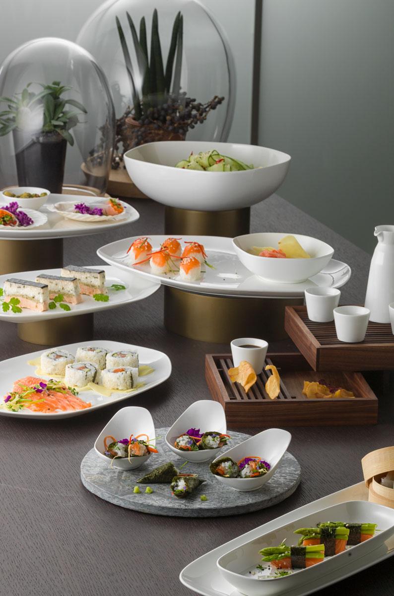Sushi-Buffet in Hotelporzellan