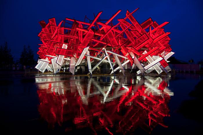 Sotschi Coca Cola Pavillon Nachts